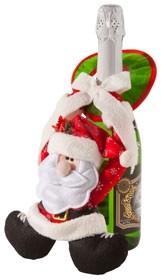 Украшение для шампанского Дед Мороз, фетр