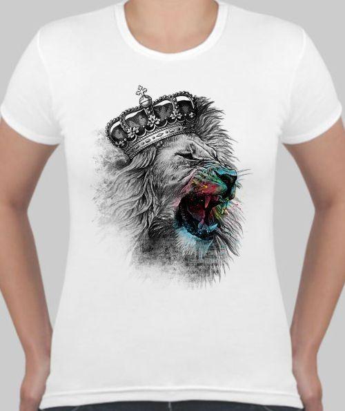 Женская футболка Лев с синей мордой