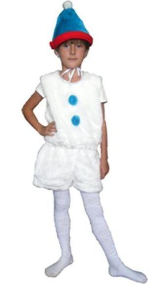 Карнавальный костюм Снеговик (головной убор, жилет, шорты)