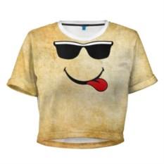Женская укороченная 3D футболка Смайл в очках