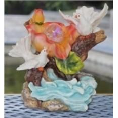 Фонтан с подсветкой «Голуби у ручья с цветком»