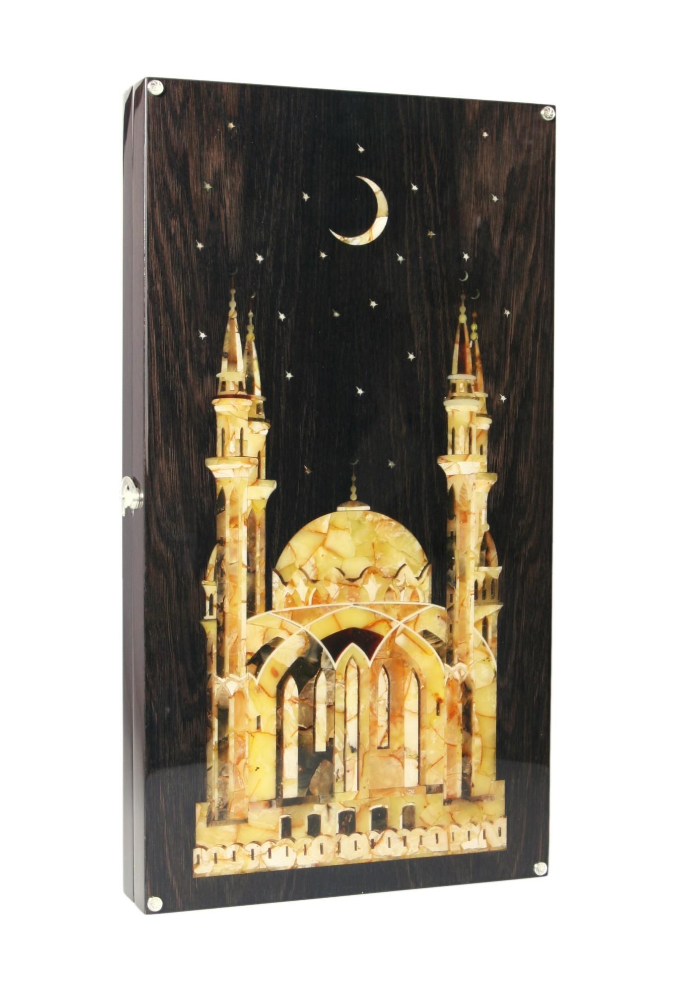 Подарочные нарды янтарные Мечеть кул шариф