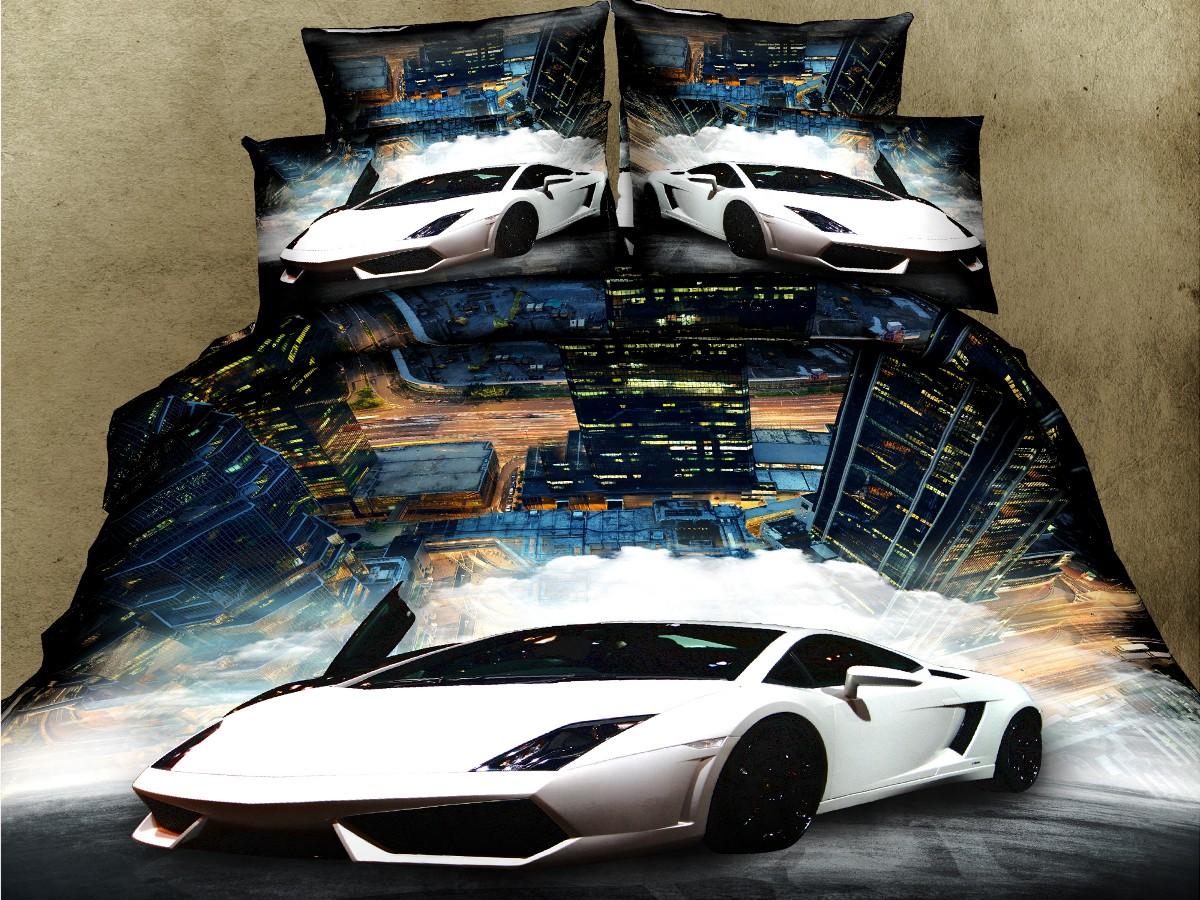 Евро комплект постельного белья 3D, белая машина
