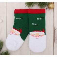 Зеленые детские носки Дед Мороз