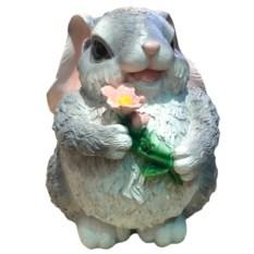 Декоративная садовая фигура Зайка с цветком