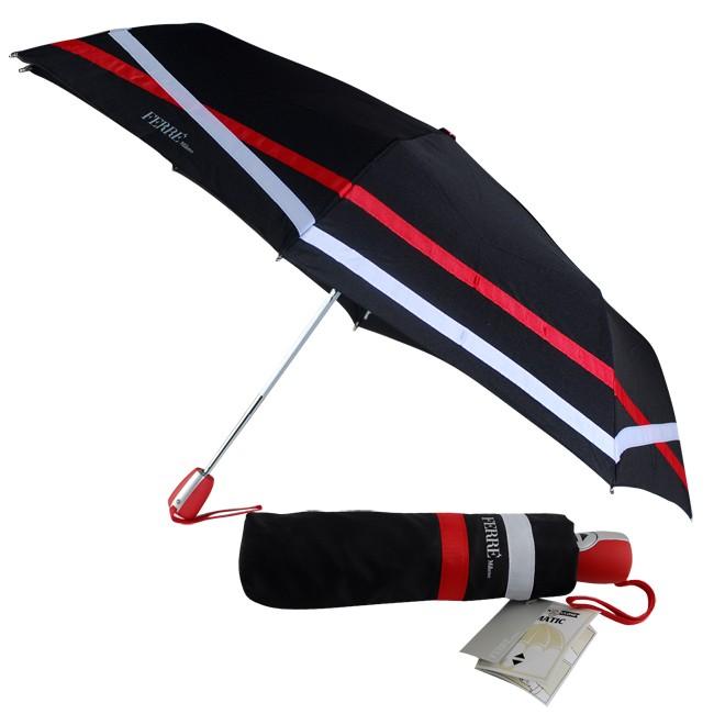 Зонт  Ferre Milano, автоматический, черный с полосами