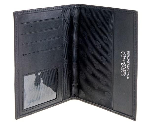 Обложка для паспорта, кожа гладкая черная. S.QUIRE