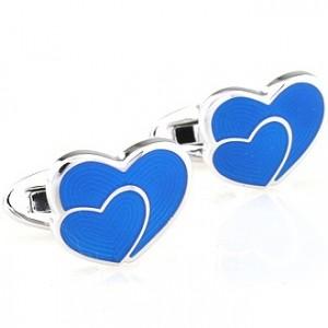 Запонки Синие сердечки