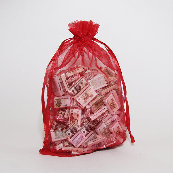 Мешок с шоколадными деньгами красный