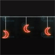 Красная светодиодная гирлянда 3х0,5 м Луны
