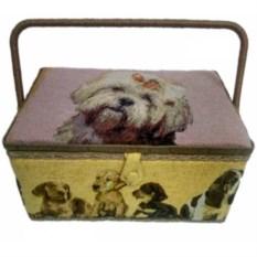 Шкатулка Собачка для рукоделия с подносом
