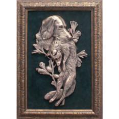Картина из металла Собака с лисой