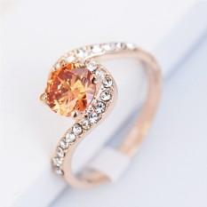 Кольцо с цирконием цвета шампань и кристаллами Флирт