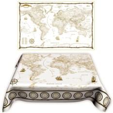 Скатерть «Карта мира в морском стиле»