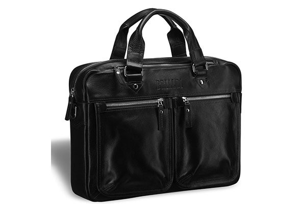 Деловая черная сумка для документов Brialdi Parma