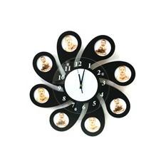 Оригинальные настенные часы с фоторамками Ромашка, черные