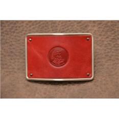 Пряжка для ремня с кожаной вставкой. Коллекция G.Design (красный, римский воин; нат. кожа)