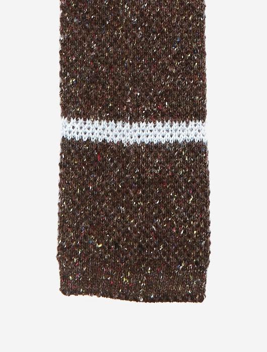 Коричневый вязаный галстук Calabrese в белую полоску
