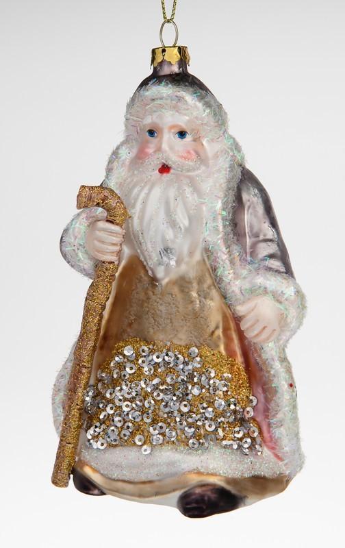 Ёлочная игрушка Дед мороз в золотой шубе с посохом