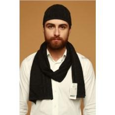Черный мужской комплект из шапки и шарфа Enrico Coveri