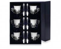 Серебряный набор: чашки Охотничьи + кофейные ложки Престиж