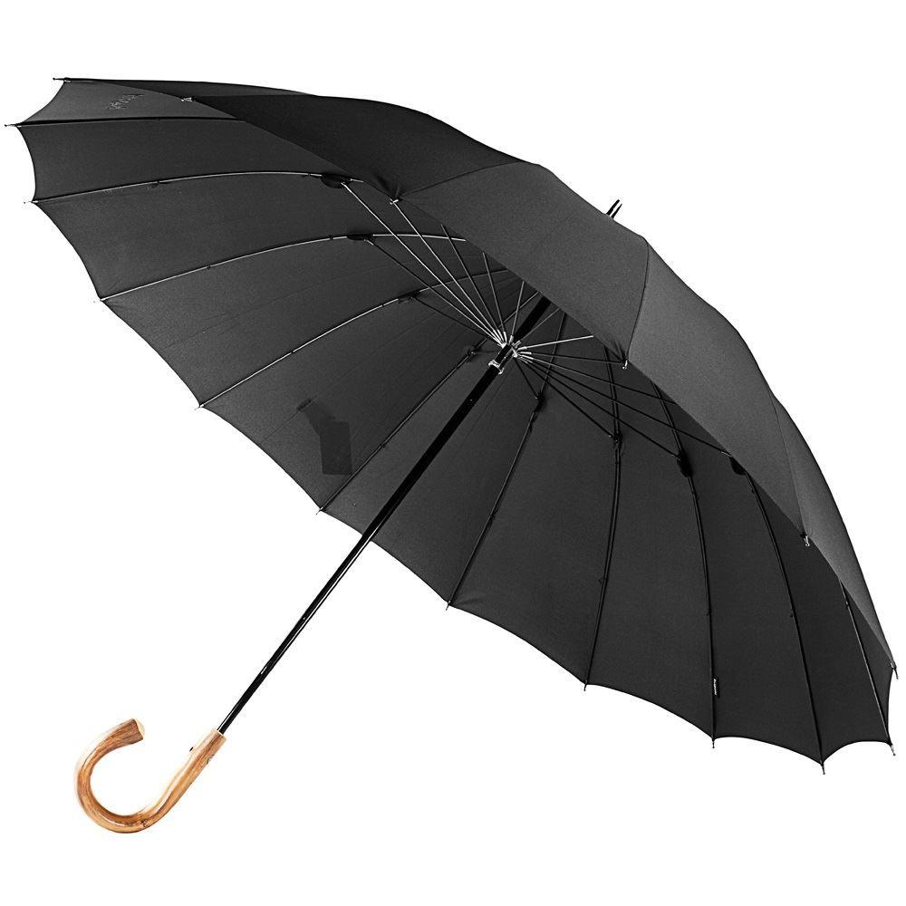 Мужской зонт-трость с деревянной ручкой