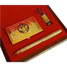Набор «Визитница с гербом, флешка и ручка»