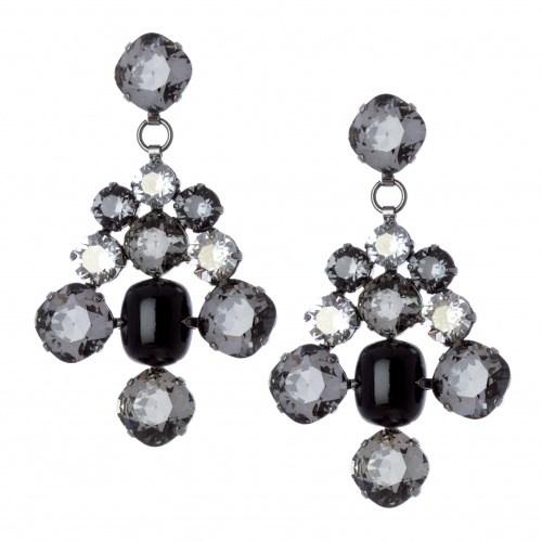 Серьги-люстры из дымчатых кристаллов
