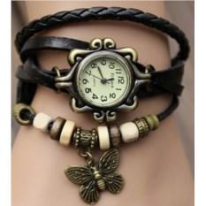 Черные модные часы-браслет с бабочкой из экокожи