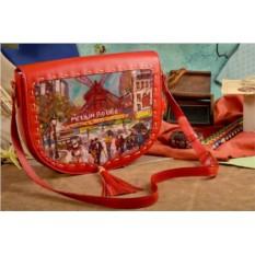 Женская сумка-седло с принтом Мулен Руж