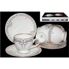 Чайный набор Аристократ, 12 предметов (костяной фарфор)