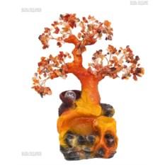 Оранжевый настольный фонтан с подсветкой Дерево камней