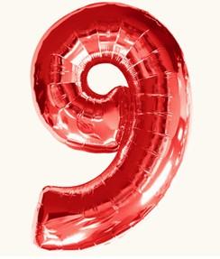 Цифра 9, красная