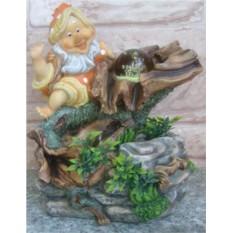 Фонтан с помпой Лесной гномик и домик-гриб