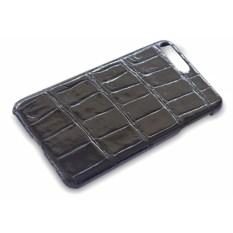 Черный чехол на iPhone 7 plus из кожи крокодила glossy