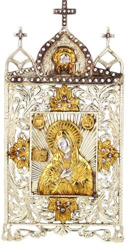 Серебряная икона с образом Божьей матери Умиление