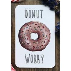 Мини открытка-бирка Donut worry