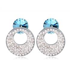 Серьги с голубыми кристаллами Сваровски Каприз