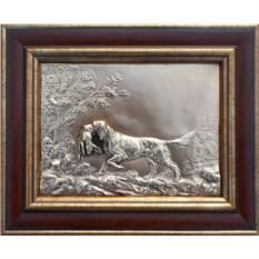 Картина из металла Собака с зайцем