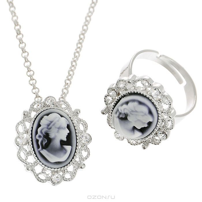 Комплект украшений Fashion House: колье, кольцо, цвет: серебристый, серый