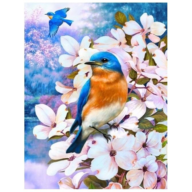 Картина-раскраска по номерам на холсте Птицы весны