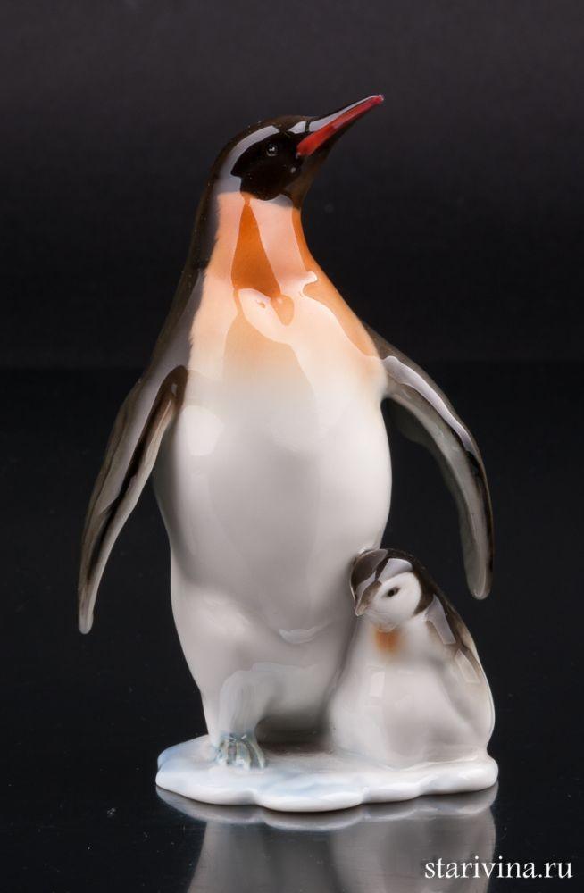Фарфоровая статуэтка Пингвин с пингвиненком