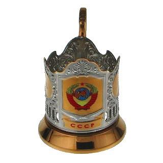 Подстаканник позолоченный с деколью «СССР»