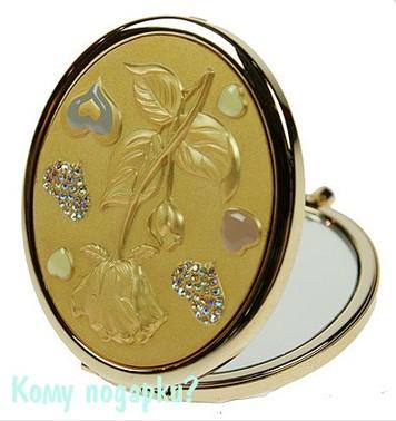 Зеркальце, украшенное стразами, сердечками и розой,  La Geer