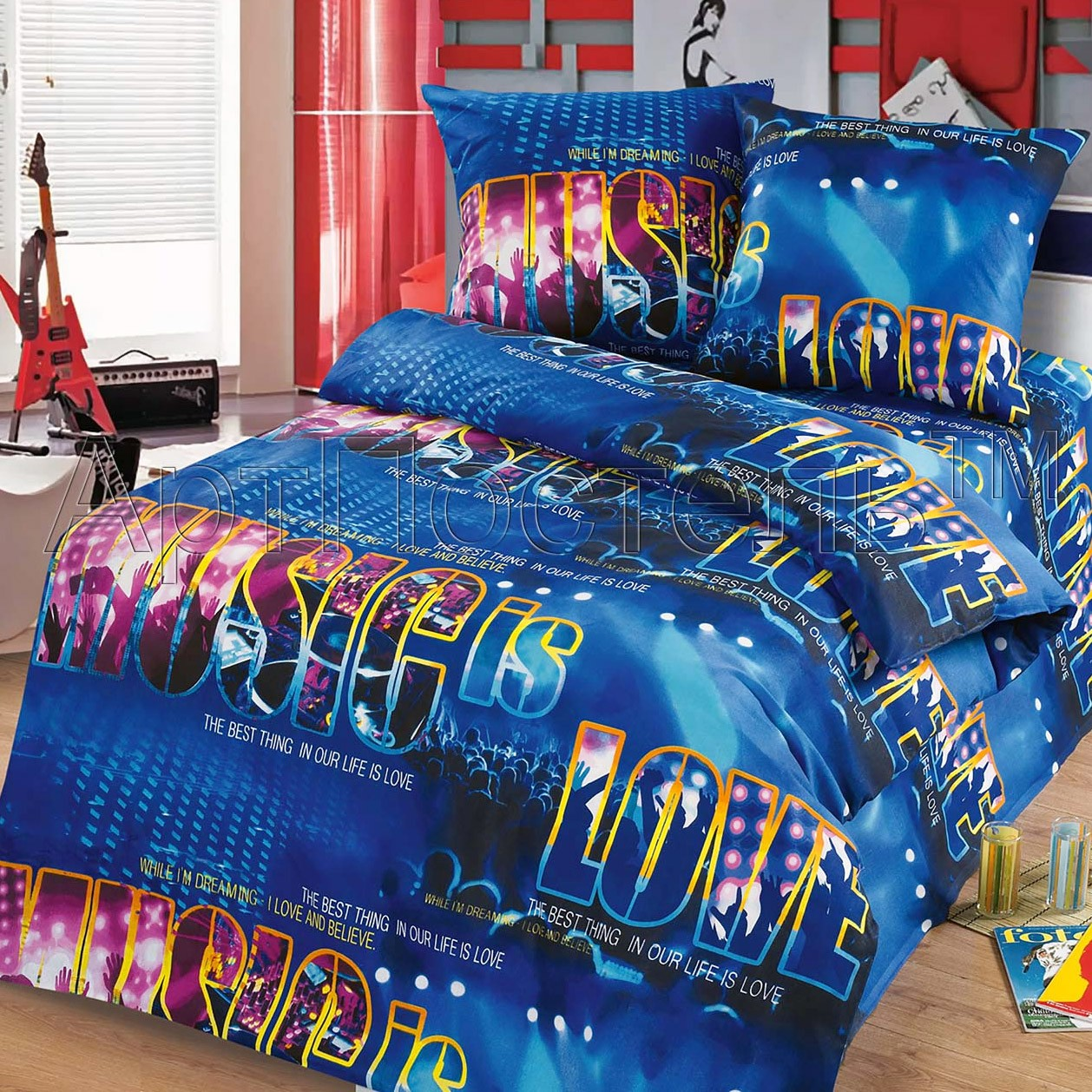 Синее детское постельное белье Диско «Артпостель»