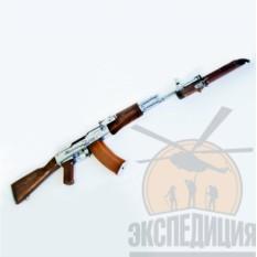 Макет автомата Калашникова АК-74 хромированный со штык ножом