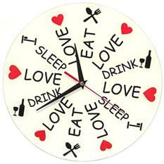 Часы стеклянные Love. Eat. Drink. Sleep