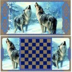 Малые нарды в деревянном коробе Волки