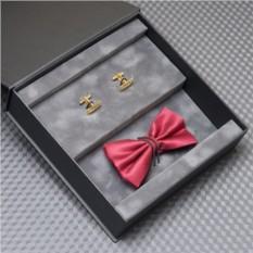 Набор Black tie: галстук-бабочка и запонки с гравировкой