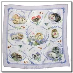 Шейный платок с кошечками «Лаванда и ветер»